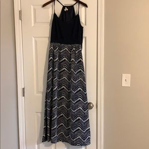 J crew maxi navy blue and white pattern